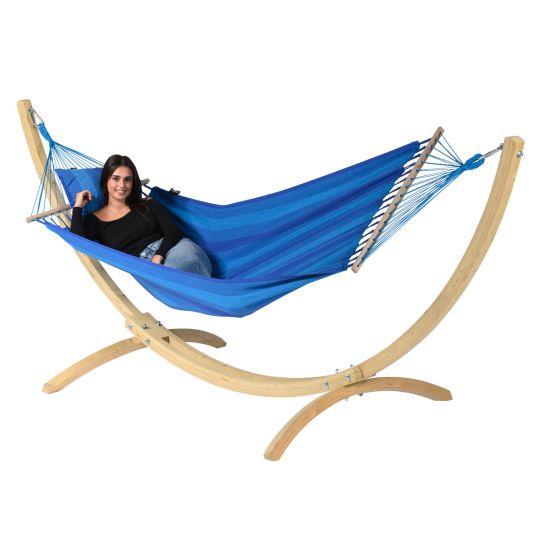 Hamac Sur Pied 1 Personne Wood & Relax Blue
