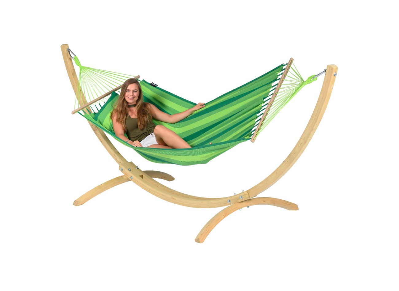 Hamac Sur Pied 1 Personne Wood & Relax Green